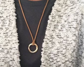 Zen, Enso, Circle Necklace, Organic Shape