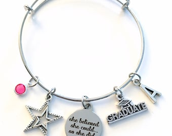 She believed she could so she did Charm Bracelet, Graduation Gift for Granddaughter, Daughter Jewelry Student Silver Bangle College her girl