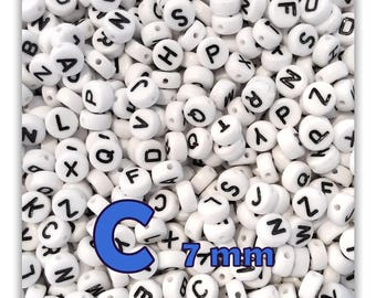 "Set of 50 ""C"" beads letter alphabet disc 7 X 3.5 mm"