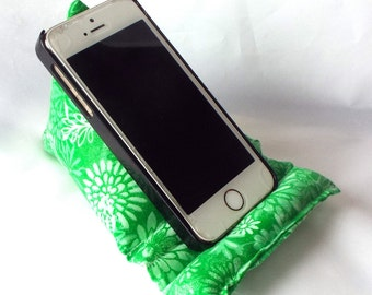 Cell Phone and iPod Pillow Stand in Green Floral Batik