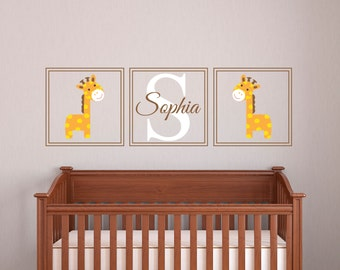 Custom Name Wall Decal   Giraffes Wall Decal   Nursery Wall Decal   Baby  Girl Room Decor   Monogram Giraffe Wall Decal