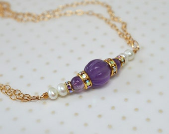 Genuine amethyst necklace Purple gemstone necklace gold Delicate necklace Special occasion jewelry Dressy necklace February birthstone