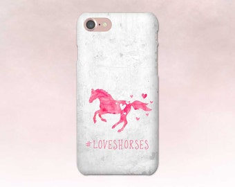 Horse Phone Case, iPhone 7 case, Samsung S7, Horse Art, iPhone 6, Samsung S6, iPhone 7 Plus, Gift for Horse Lover, Hearts Pink