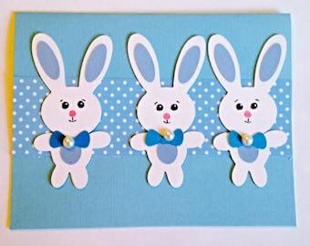 Adorable Blue Bunny Trio Handmade Card!