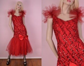 VTG Red Sequined Mermaid Dress/ Medium/ Party/ Prom/ Evening/ Formal/ Drag/ Pride