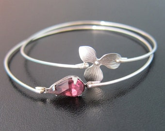 Radiant Orchid Bracelet Set, Radiant Orchid Jewelry, Purple Wedding Jewelry, Purple Bridesmaid Jewelry, Wedding Bracelet Bridesmaid Bracelet