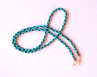 Turquoise and black eyeglass cord, eyeglass chain, glasses lanyard, glasses chain, glasses holder, sunglasses chain