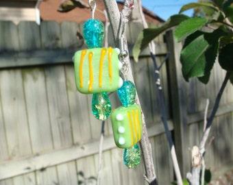 Hand Made Earrings Green Hand Made Bead with Green Czech Glass Beads