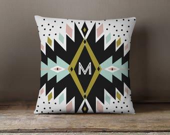 Throw Pillow, Pillow Cover,  Dorm Pillow Personalized Pillow, Monogram: Boho Thunder Two