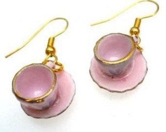 Pink Alice in Wonderland Floral Teacup Earrings, Tea cup, Retro, Flower, Silver, Gold, Miniature