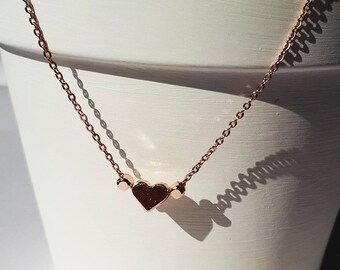 Necklace rose gold heart. Heart necklace Rose gold