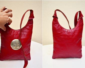 SALE Vintage Genuine Leather Bag RED Casual Women Bag Crossbody Classic Boho Teen Tote