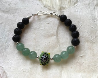 Green Aventurine and Eye Bead Aromatherapy Bracelet