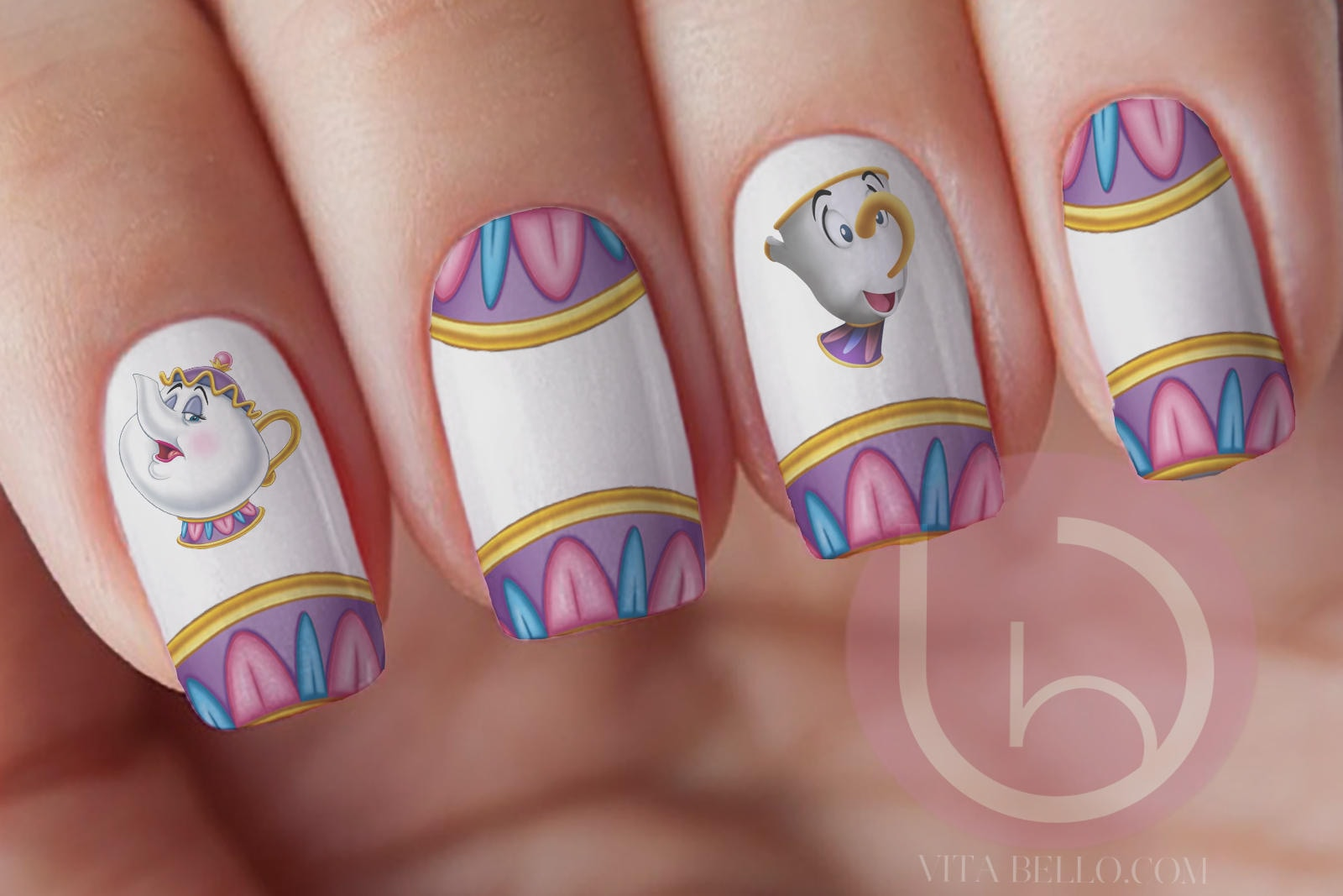 Mrs. Potts and Chips Waterslide Nail Decal, Nail Design, Nails ...