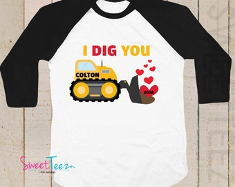Valentines Shirt I dig you Personalized Shirt black Raglan Boy shirt hearts yellow Construction truck toddler youth