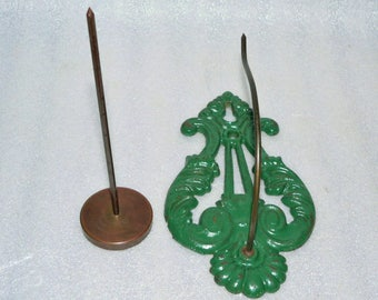 2 Ornate Metal Brass Victorian Wall Bill Hooks Spikes Receipt Paper Antique Desk