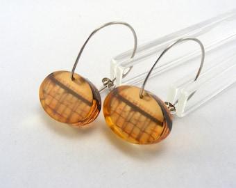 Orange Seaside Earrings - Pier pattern drops - hook earrings - Saltburn Pier dangle Earrings - orange Acrylic earrings - Perspex drops