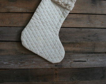 Vintage Cream & Lace Quilted Cotton Christmas Stocking