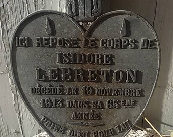 Plaque funeral old heart of Mary/Antique cemetery flat/Memento mori