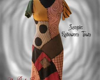 Sally Costume Nightmare Before Christmas Patchwork Dress Made to Order Teen or Adult Size by the Ruby Bee