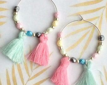 Earrings Creole 30 mm Silver 925 beads Czech glass and Pompom