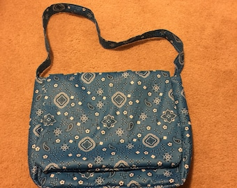 Blue Bandana Messenger Bag