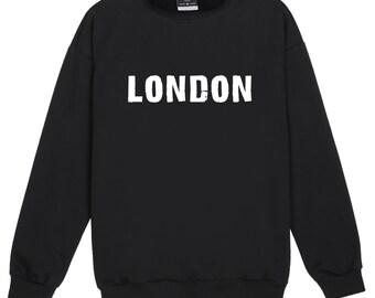 London Sweater Jumper Womens Ladies Fun Tumblr Hipster Swag Fashion Grunge Kale Punk Retro Vtg Top City Cute Girls Pink England UK Slogan