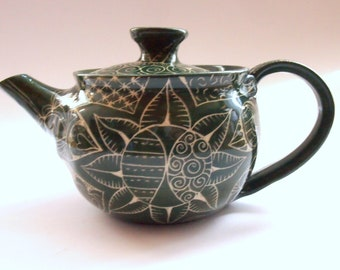 TEAPOT Wheelthrown stoneware teapot forest green incised boho patchwork pattern