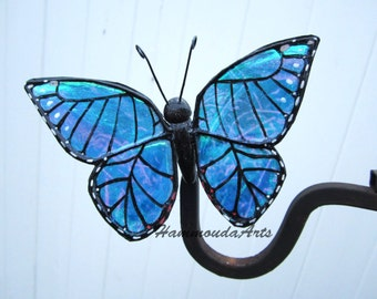 Blue Morpho Butterfly Clip - Blue / Green iridescent glittery wings - Magnetic 3d home decor - Home decor - Hair Clip
