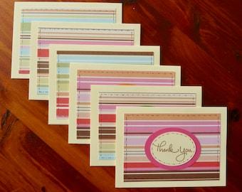 6 Thank You Notes, Handmade Thank You Card Set, Blank Note Cards, Thank You Cards, Thank You Greeting Cards, Paper Handmade Greeting Cards
