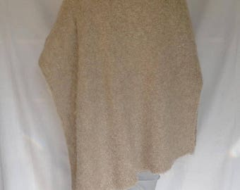 Poncho Wrap Alpaca  Wool Light Beige Large/Extra Large Hand Knitted
