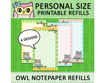 PRINTABLE Personal Size Cute Kawaii Owl DIY Ruled Notepaper Refills for Filofax Organizer Planner Instant Download