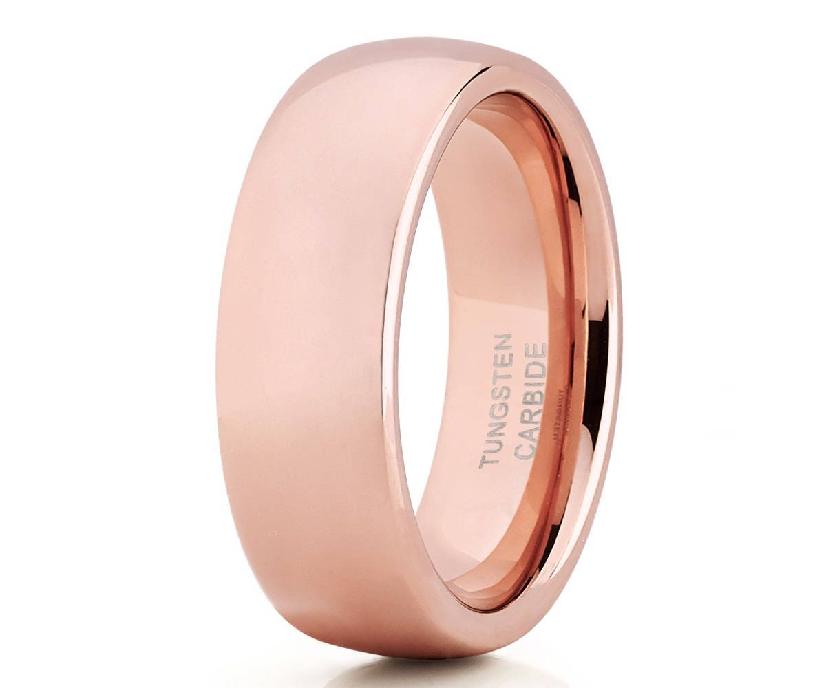 Rose Gold Tungsten WeddingBand Shiny Polish Men & WomenRose