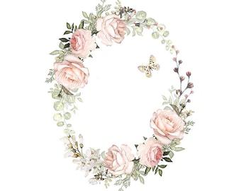 Watercolour Flower Wreath Clip Art Digital Download PNG High Resolution Q594