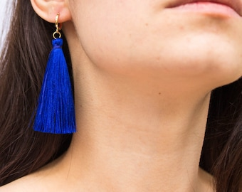 Technicolour -earrings (fun colourful long tassel drop mini hoop earrings)