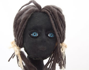 Bettie. Black Linen Cloth Art Doll.
