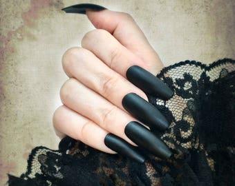 Matte Black Stiletto Nails | Matte Black Coffin Stiletto Almond Nails | Extra Long Nails |  Mat Nails | Coffin Nails | Gothic Nails