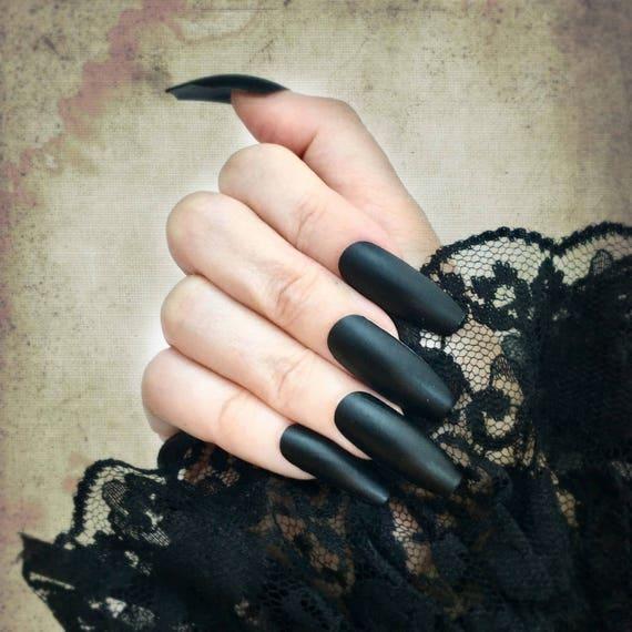 Matte Black Stiletto Nails Matte Black Coffin Stiletto