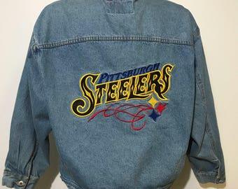 Vintage Pittsburgh Steelers Jean Jacket XL
