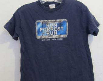 A Teen's Vintage 90's,Blue Short Sleeve RUN FORREST RUN t Shirt By Bubba Gump.L(12)