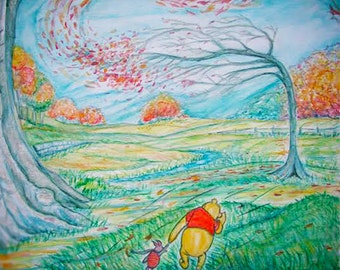 Autumn- Blustery day with Winnie the Pooh and Piglet prints