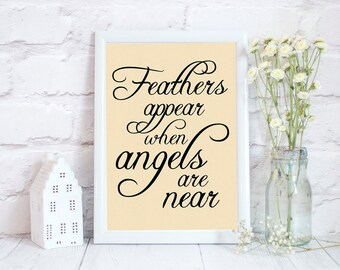 Feathers appear when angels are near, bereavement quotes, gift bereavement gift for colleague,feather gifts, bereavement gift for friend