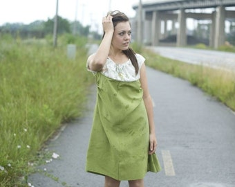 Vintage Cap Sleeve Open Back Dress~Olive Green Dress~Two Toned Dress~Cut Out Dress~Romantic Dress~Day Dress~Scoop Neck Dress~Casual Dress