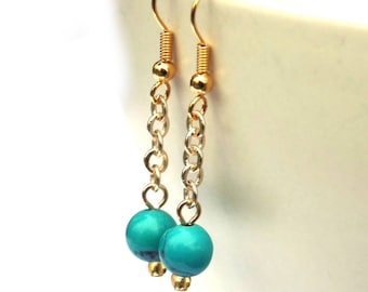 Turquoise earrings, Turquoise jewelry, long earrings, dangly earrings, gemstone earrings, gold earrings, gemstone jewelry, gift women, girls