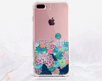 iPhone 8 Case iPhone X Case iPhone 7 Case Succulents Clear GRIP Rubber Case iPhone 7 Plus Clear Case iPhone SE Case Samsung S8 Case U155