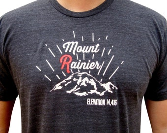 Mens Mount Rainier t-shirt. Washington mountain shirt. Mount R.