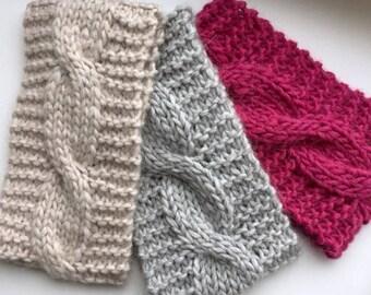 Alpaca headband,Knit wide headband,Gray knit earwarmer, Cable head wrap, Wool knit headband, Alpaca headband, Wide cable headband