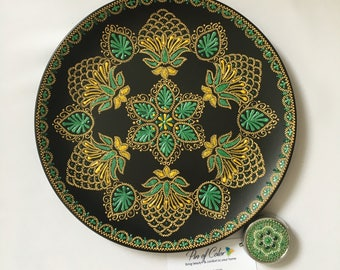 Green mandala plate. Home decor. Hand painted decorative plate. Ceramic wall plate. Emerald plate Women Gift idea for her. oriental Interior