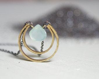 Chrysoprase Moon Drop necklace