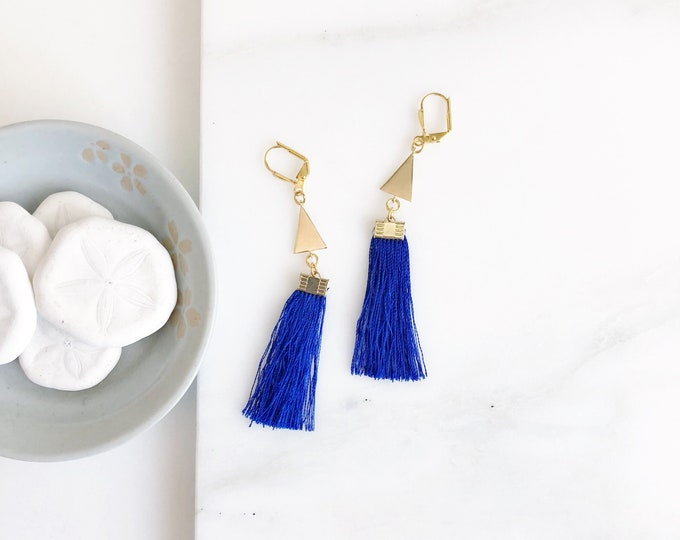Blue Tassel and Triangle Tassel Earrings.  Long Tassel Earrings.  Gold Statement Earrings. Tassel Jewelry. Blie Earrings. Gift.